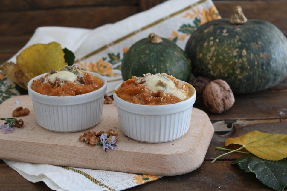 tortini di zucca con gorgonzola piccante
