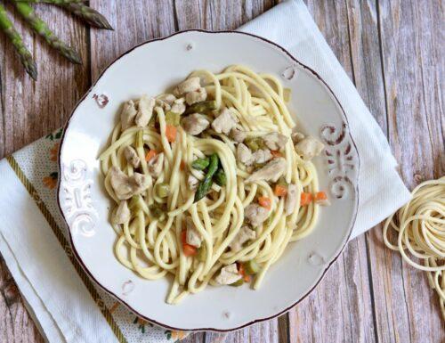 Pasta al ragù bianco di coniglio e asparagi