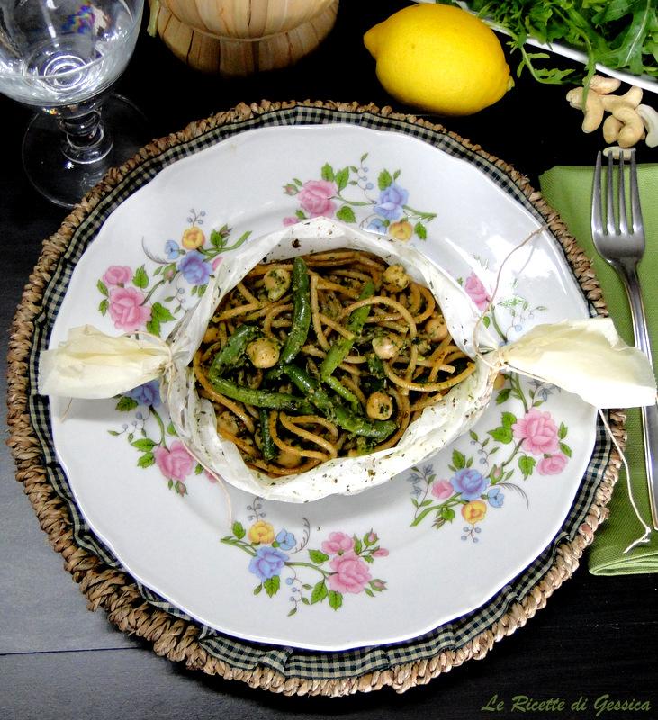 cartoccio spaghetti fagiolini pesto rucola