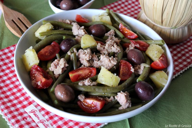 Insalata di fagiolini verdi con patate e tonno - Piatto freddo