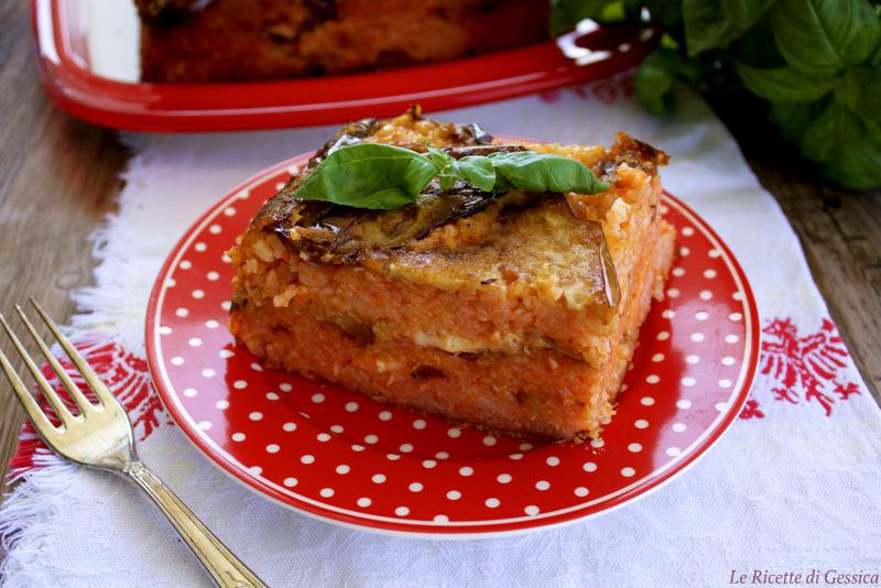 Timballo di riso con melanzane e mozzarella - Al forno