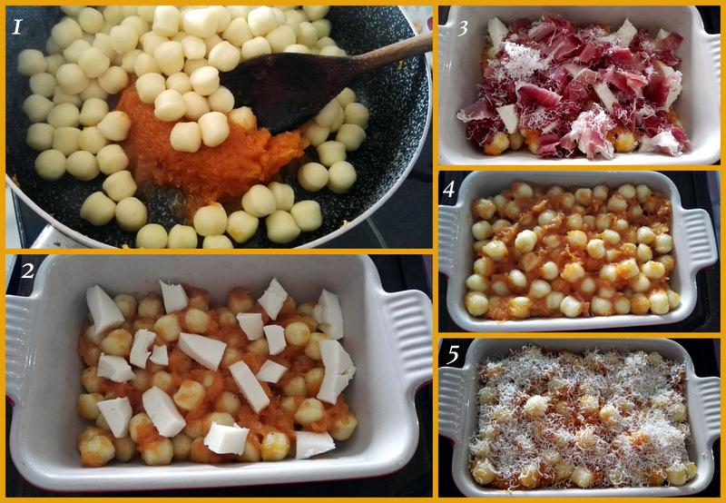 chicche di patate con zucca e mozzarella al forno timballo filante