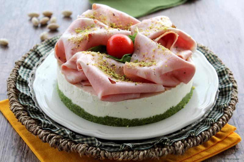 Cheesecake salata mortadella e pistacchi - Anche Bimby