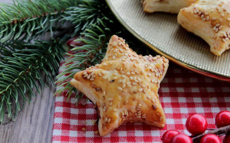 Stelle di sfoglia con Salmone e formaggio cremoso - Antipasto di Natale