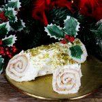 Tronchetto di Natale salato con mortadella e pistacchi - Antipasto