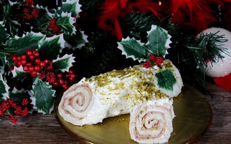 Tronchetto salato mortadella e pistacchio – Antipasto di Natale