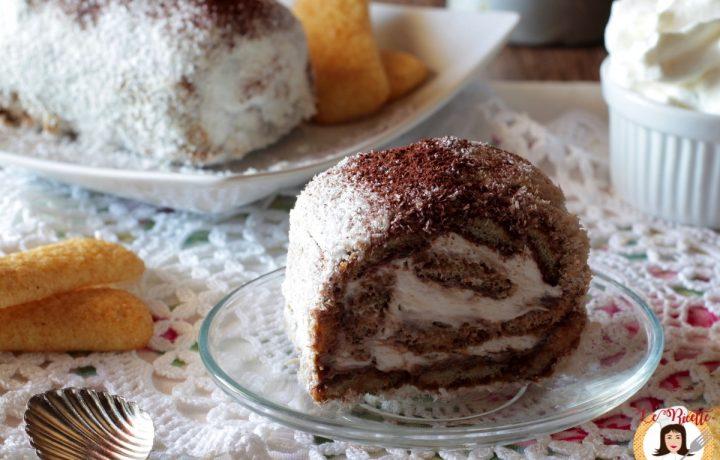 Rotolo di Pavesini con Nutella, caffè, panna e cocco