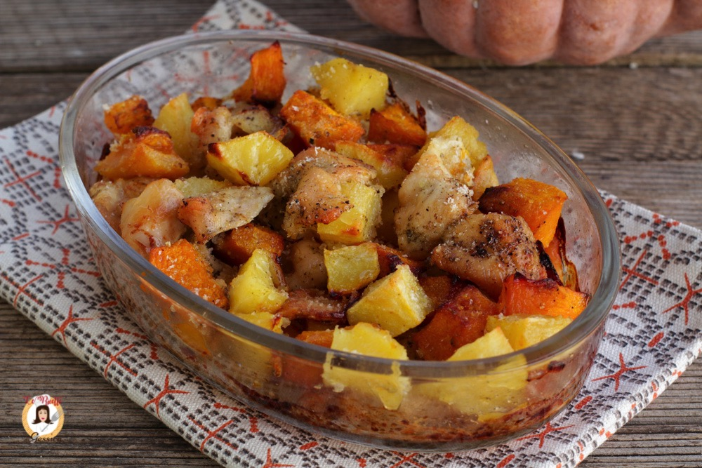 Pollo con zucca e patate cotto al forno ricetta con pollo e zucca facile - Forno e microonde insieme ...