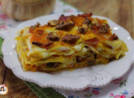 Lasagne con zucca speck e noci