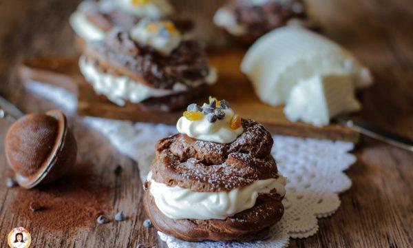 Zeppole al cioccolato ripiene di ricotta – Cotte al forno o fritte