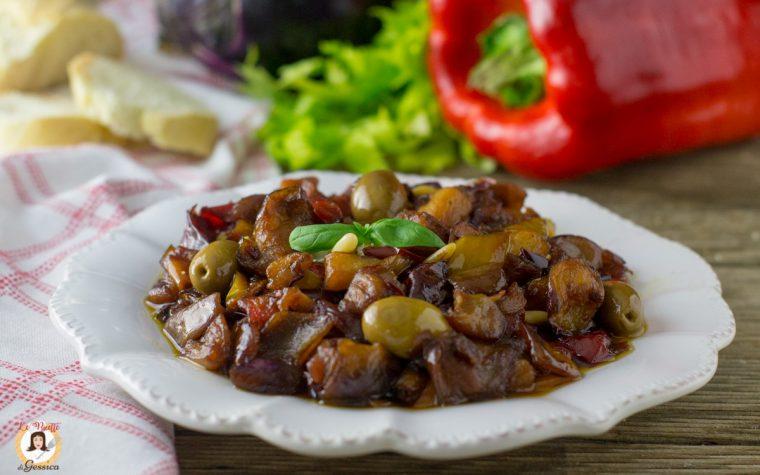 Caponata di peperoni e melanzane in agrodolce - Ricetta Siciliana
