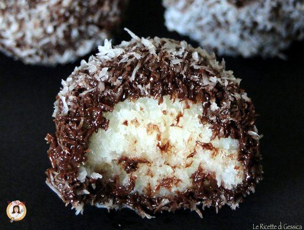 Palline al cocco e cioccolato Ricetta dolcini Senza cottura veloci e facili
