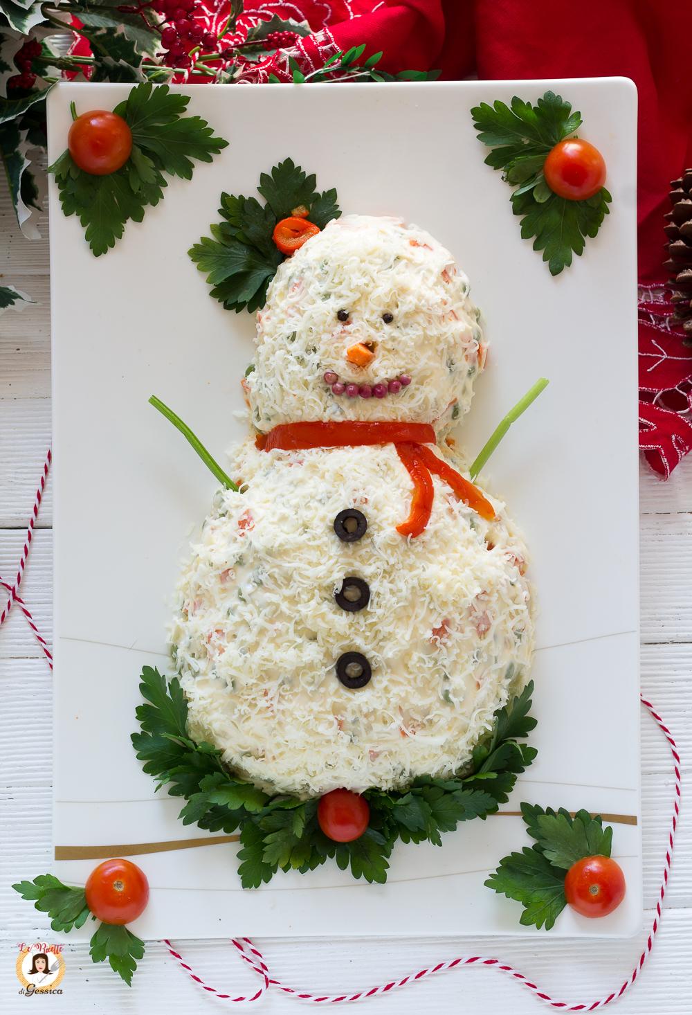 Antipasti Di Natale Insalata Russa.Antipasto Pupazzo Di Neve Ricetta Natalizia Facile Contorno Centrotavola