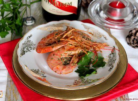 Gamberoni al vino bianco marinati – Cotti al forno