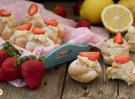 Bignè alle fragole ripieni di crema al limone – Anche Bimby