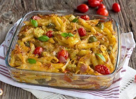 Pasta al forno ALL'ORTOLANA – Con zucchine, peperoni e melanzane. Senza besciamella