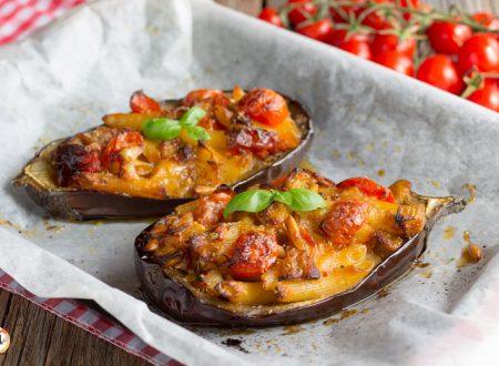Melanzane ripiene di pasta  – Barchette ripiene, Primo piatto facile