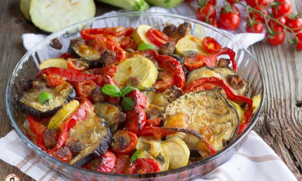 Verdure gratinate con salsiccia – Secondo piatto