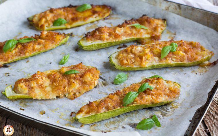Zucchine ripiene al forno - Secondo piatto con prosciutto cotto