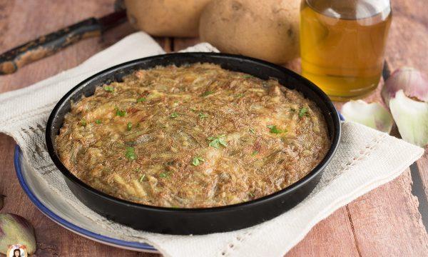 Frittata di  carciofi e patate cotta al forno – o in friggitrice ad aria