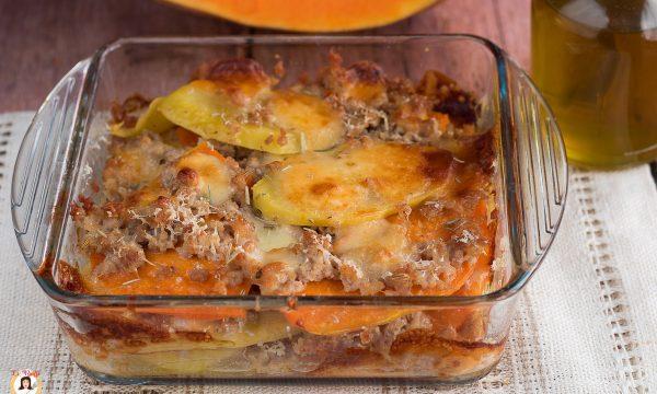 Tortino di patate zucca e salsiccia cotto al forno