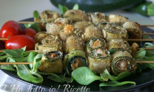 Spiedini con mazzancolle e zucchine