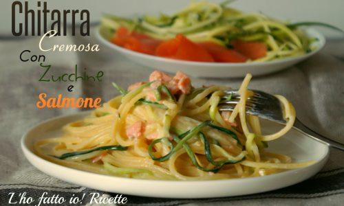 Spaghetti alla chitarra zucchine e salmone