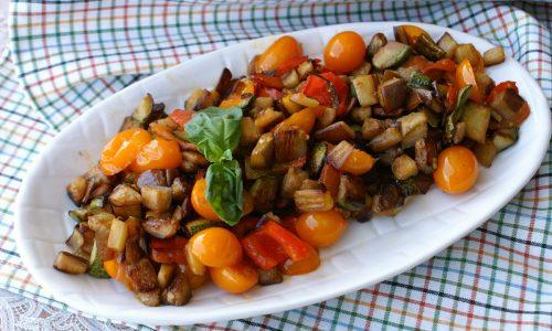 Tris di verdure saltate in padella