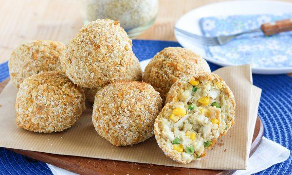 Polpette con quinoa e pollo croccanti