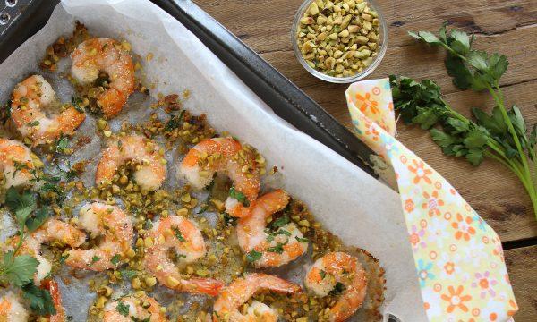 Gamberi gratinati in forno con pistacchi