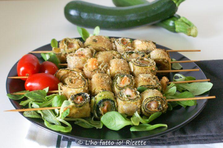 spiedini di mazzancolle e zucchine