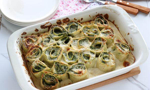 Girelle di lasagne con ricotta e spinaci