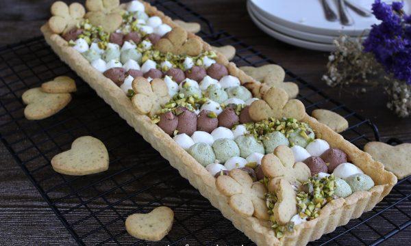 Crostata con ganache al pistacchio e nutella