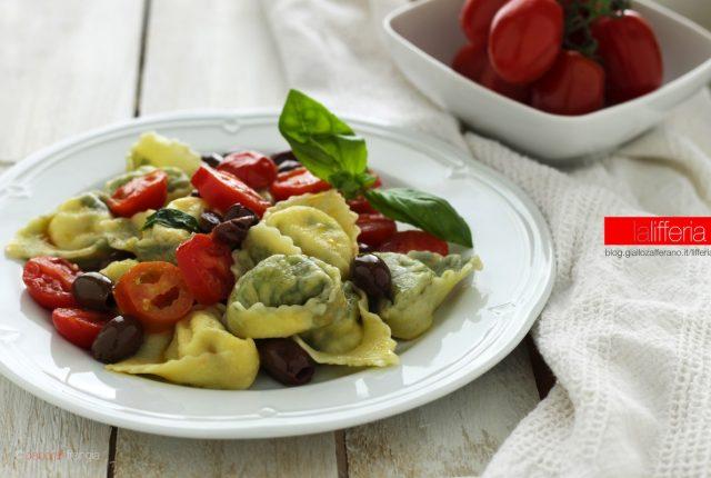 I tortelli al branzino con pomodorini e olive taggiasche
