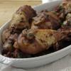Pollo alla cacciatora con funghi e pomodoro