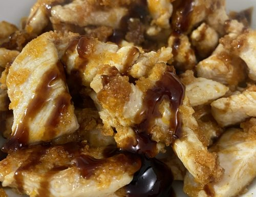 Pollo al panko con salsa teriyaki