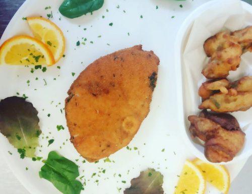 Cotoletta di Pesce Spada con frittelle di Parmigiano