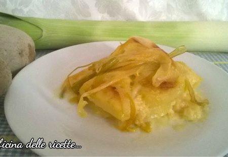 Tortino di patate con crema di porri,stracchino e mozzarella
