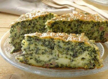 Torta salata di bietole, cotto e brie