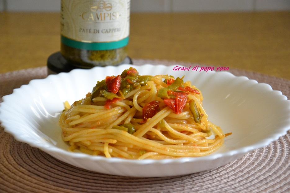 Spaghetti  risottati con friggitelli e pomodori ciliegini