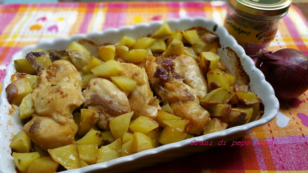 petto di pollo al forno con patate e senape