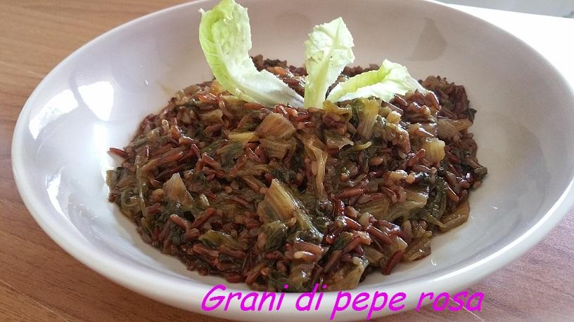 risotto rosso integrale con insalata romana, di facilissima procedura ...