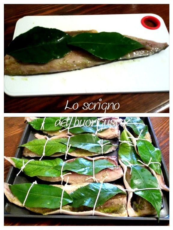 Sgombro aglio e foglie di limone