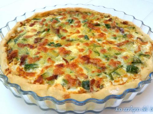 Torta salata zucchine e pancetta