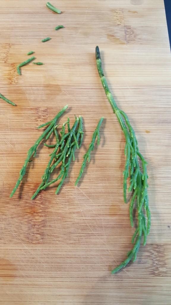 Pulitura della salicornia (asparago di mare)