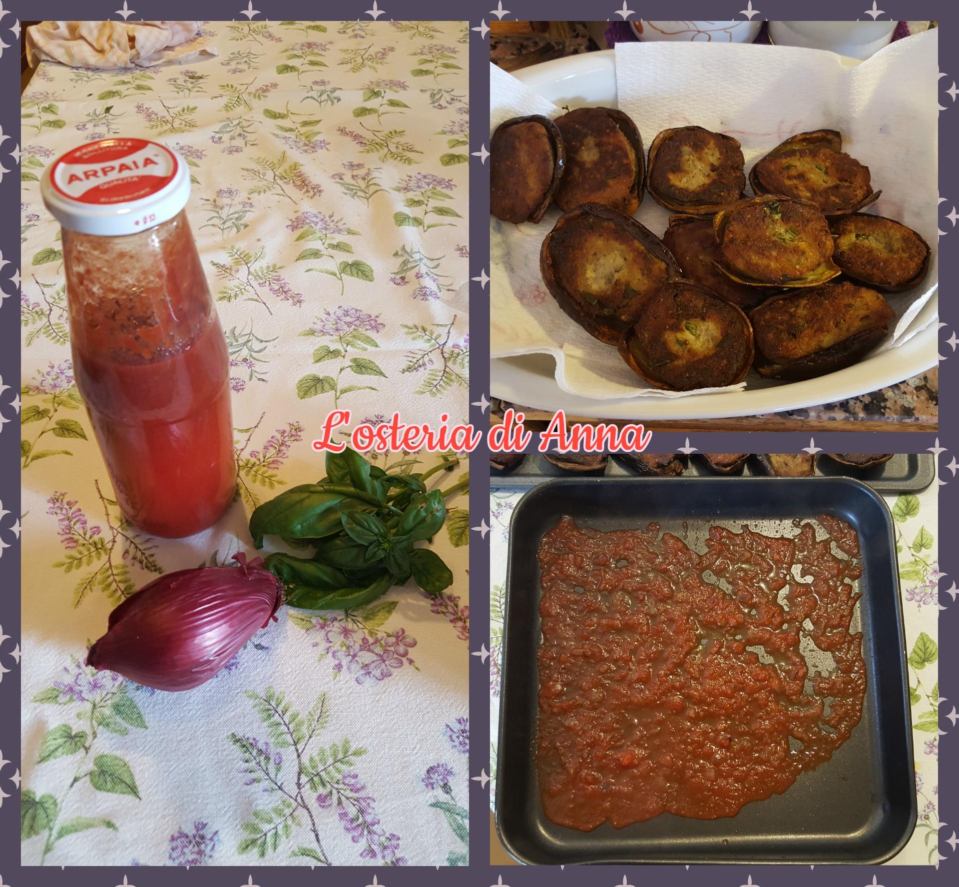 Preparazione del sugo che sarà utilizzato per infornare le melanzane ripiene