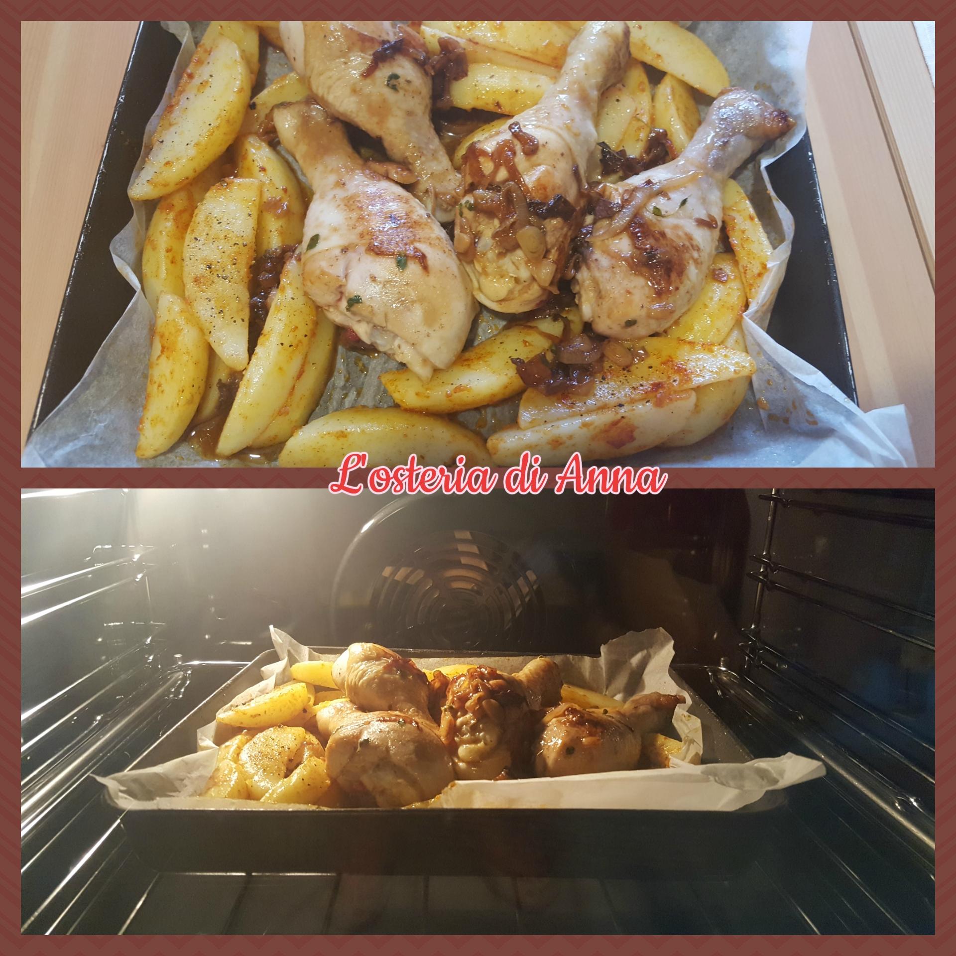 Cottura in forno del pollo insieme alle patate