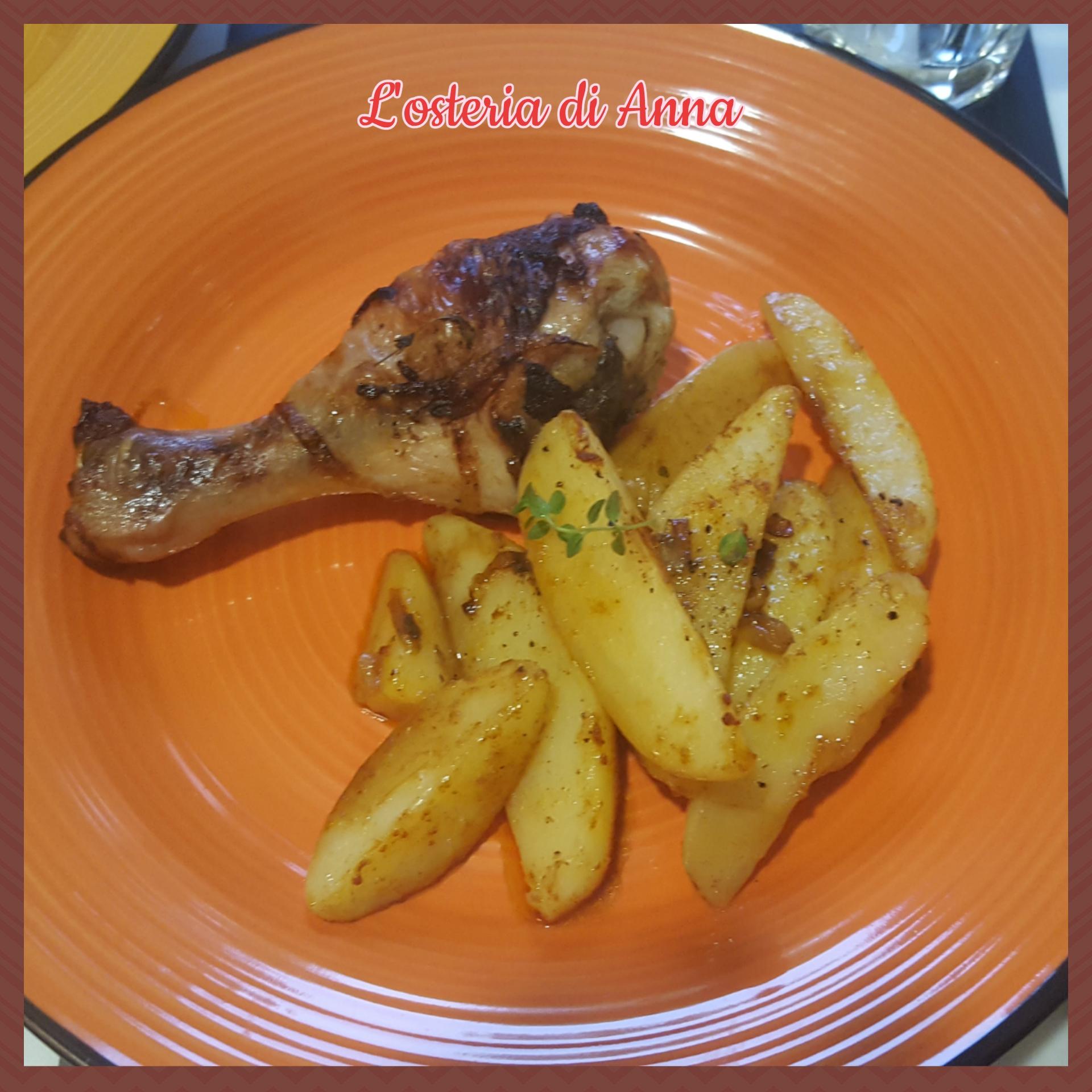 Cosce di pollo al forno con patate alla paprika