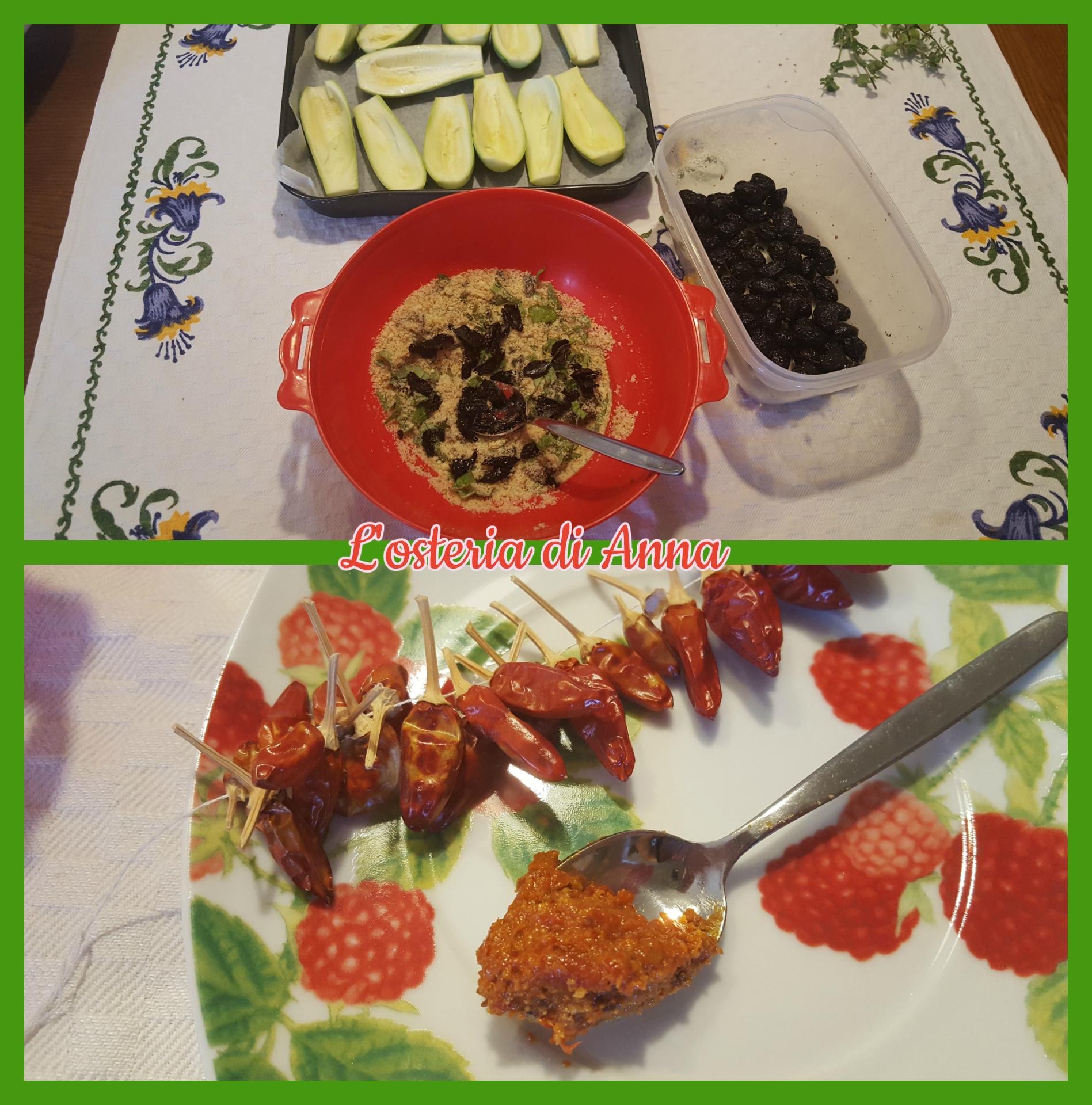 Aggiunta della 'nduja nella preparazione della farcitura delle zucchine