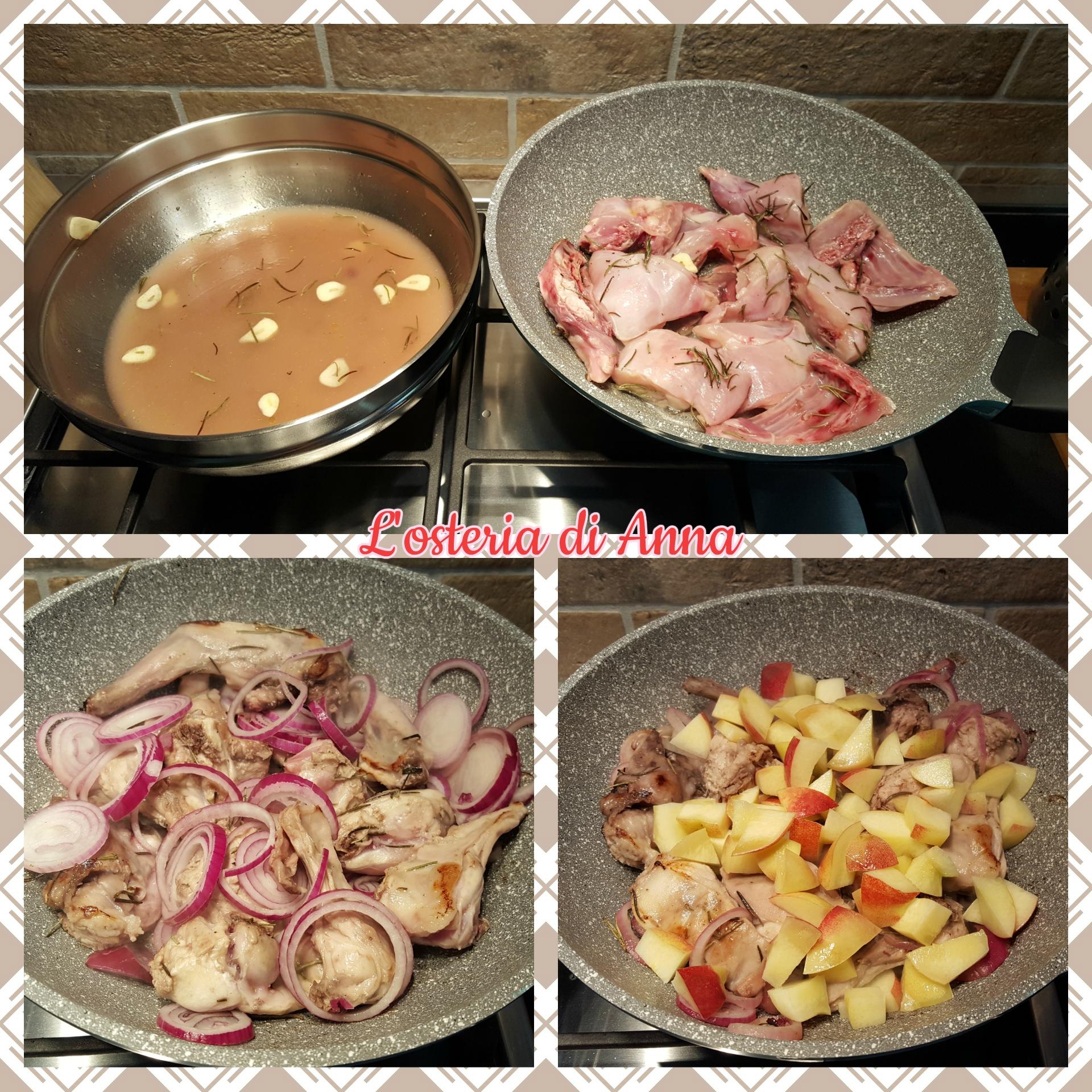 Cottura del coniglio con le merendelle e la cipolla di Tropea
